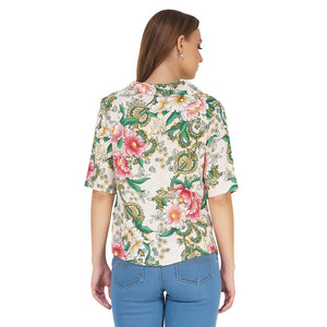 Peach Floral Cover Up Top