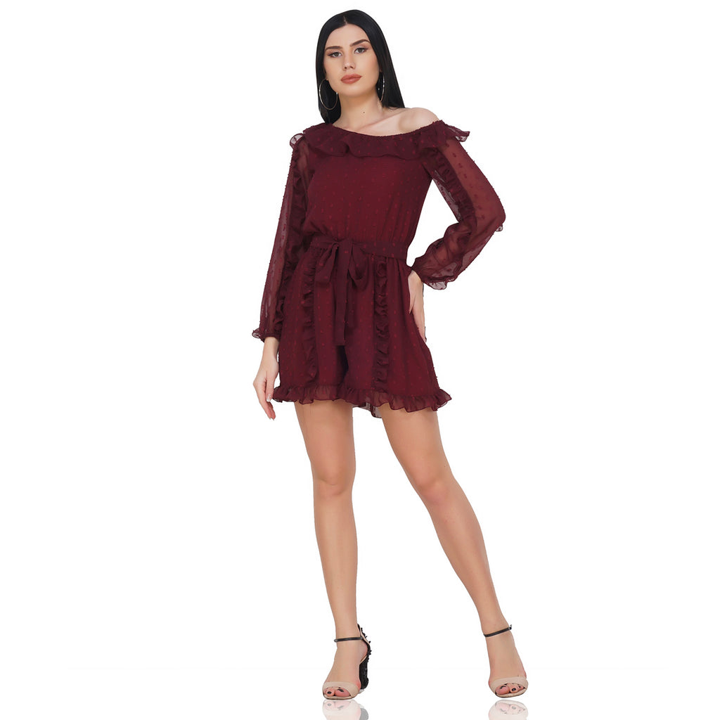 Ruffle Defined Dobby Romper
