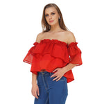 Red Off Shoulder Layered Top