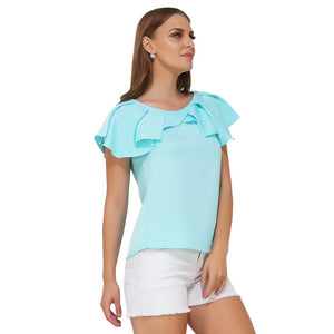 Pleated Neck Blue Top