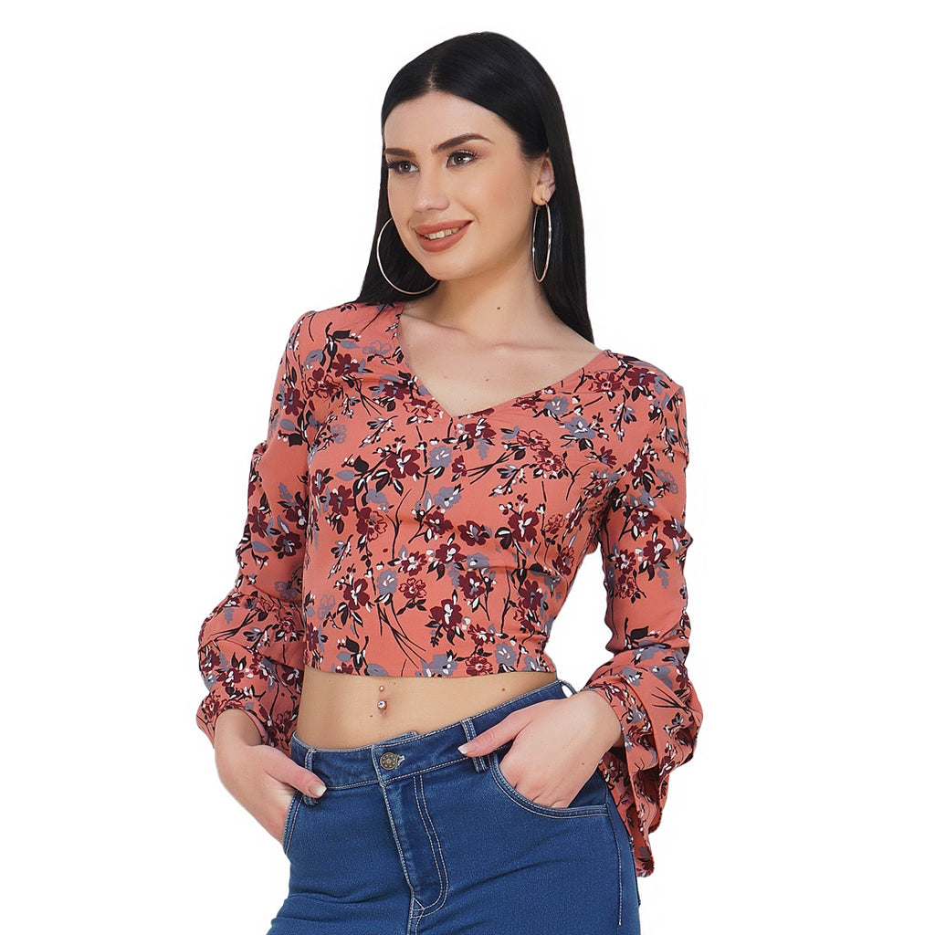Back Tie Blush Crop Top