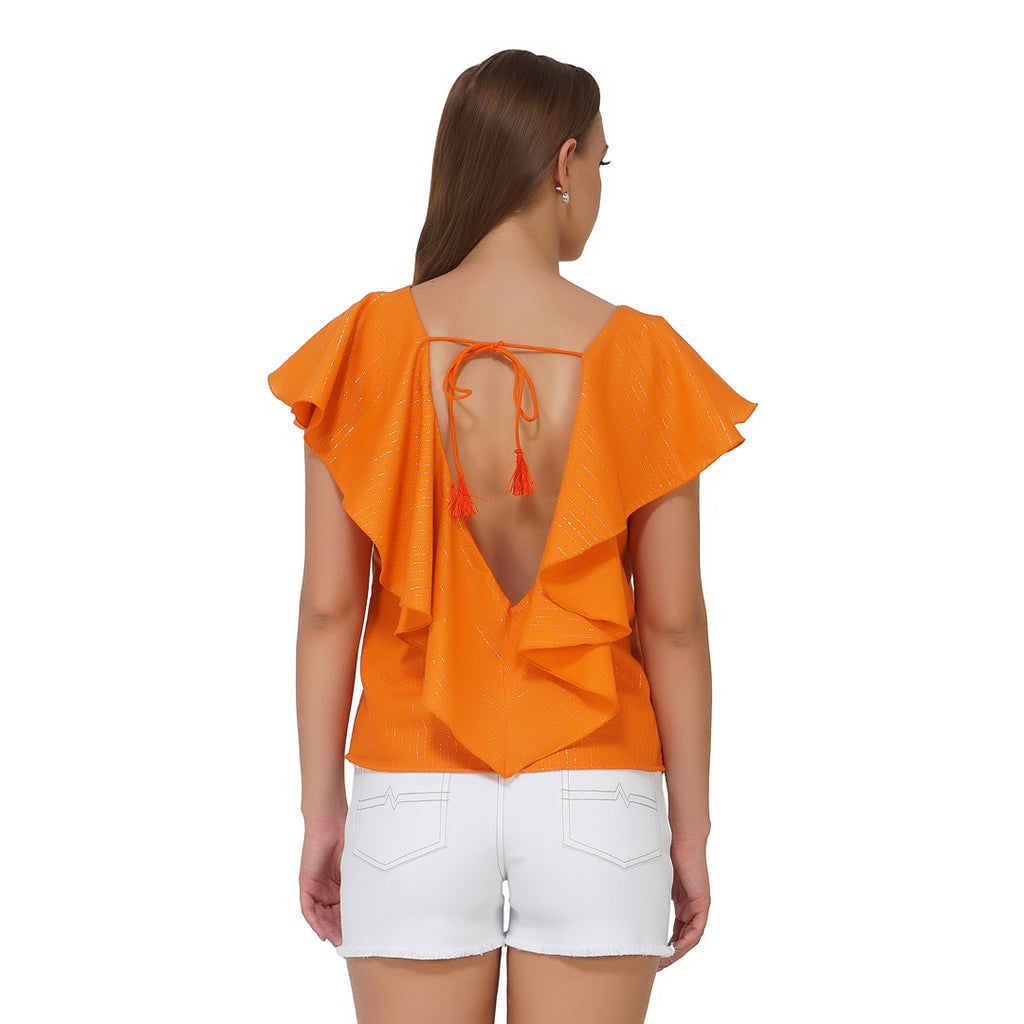 Back Drop Tie Up Orange Frilly Top