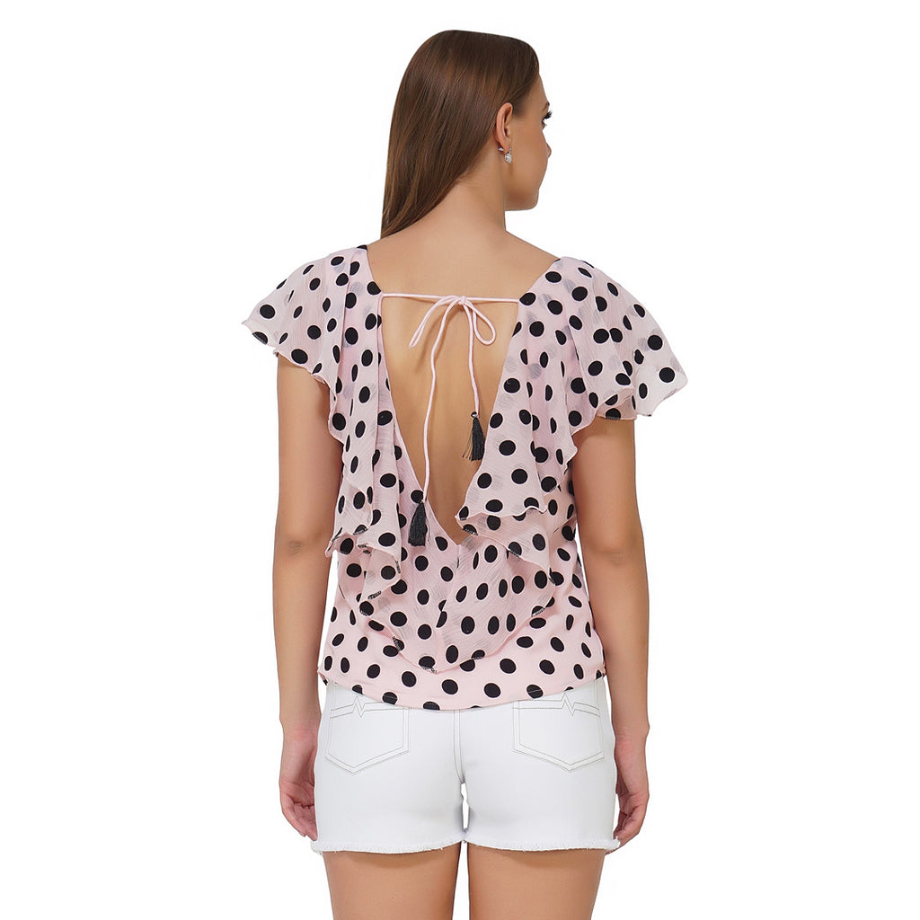 Back Drop Tie Up Polka Frilly Top