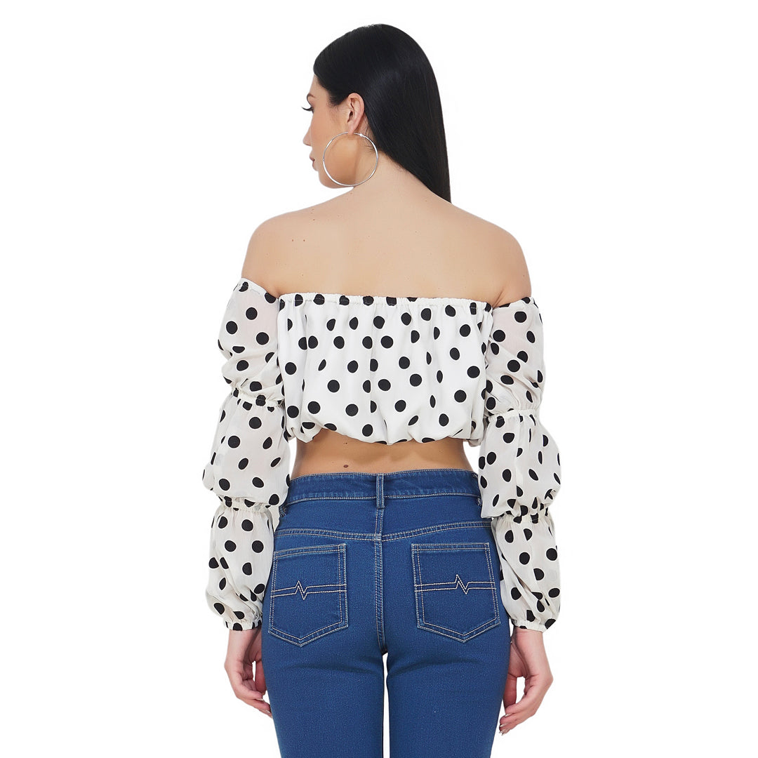 Bubble Off Shoulder Polka Top