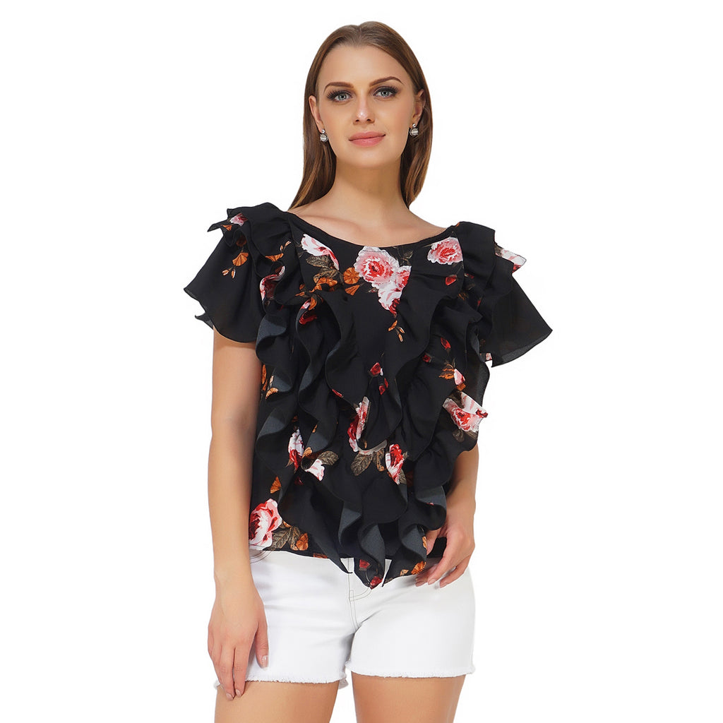 Frilly Body Floral Top