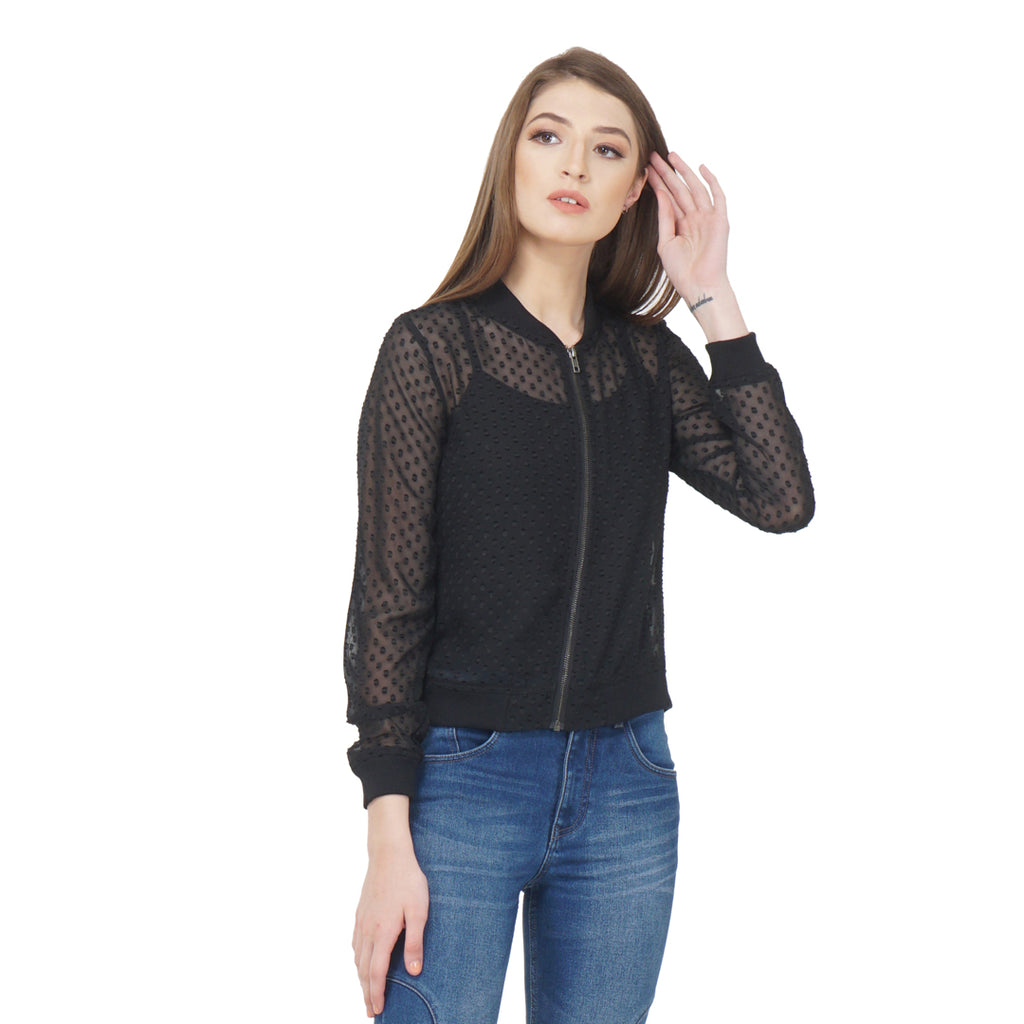 Black Sheer Bomber Jacket