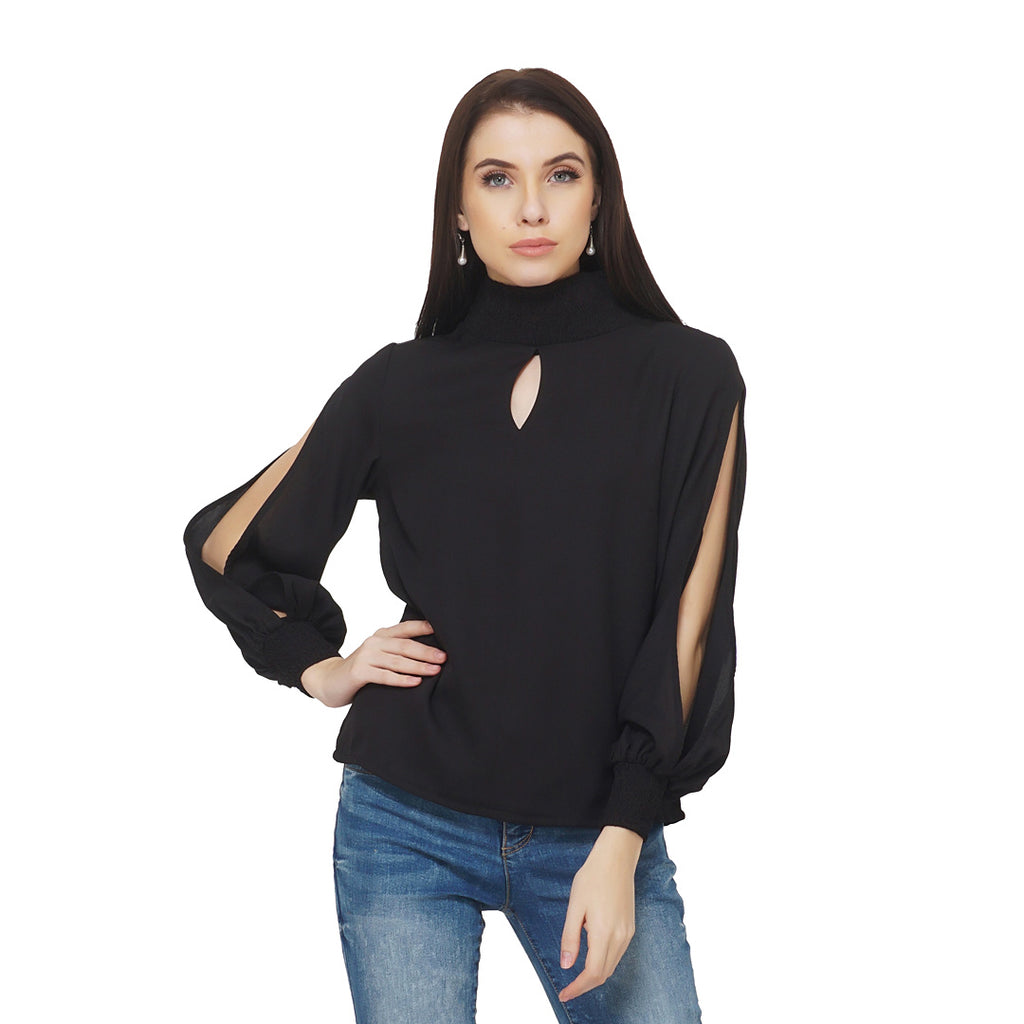 Slit Sleeves Smocked Top