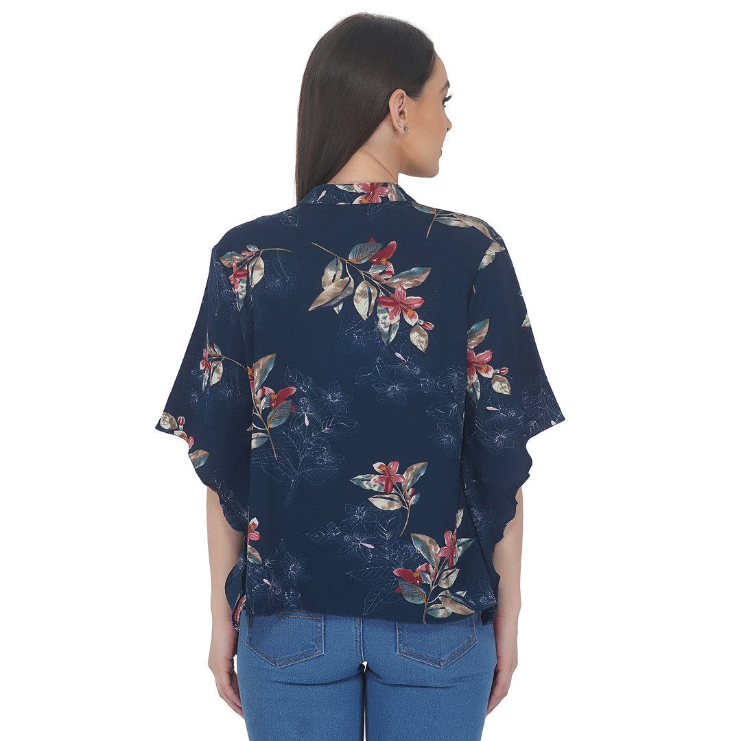Frilly Front Floral Coverup Top