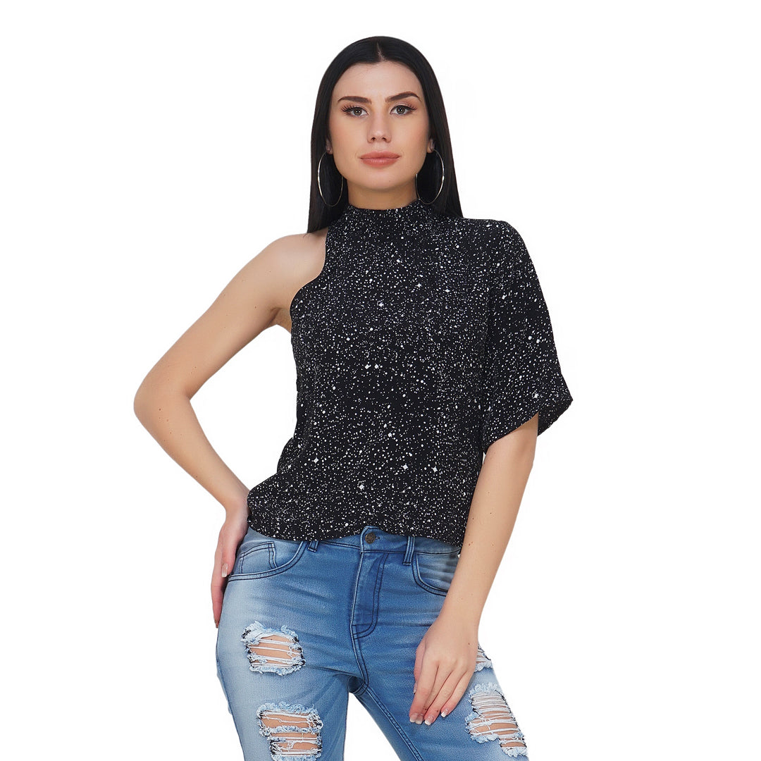 Galaxy High Neck One Shoulder Top