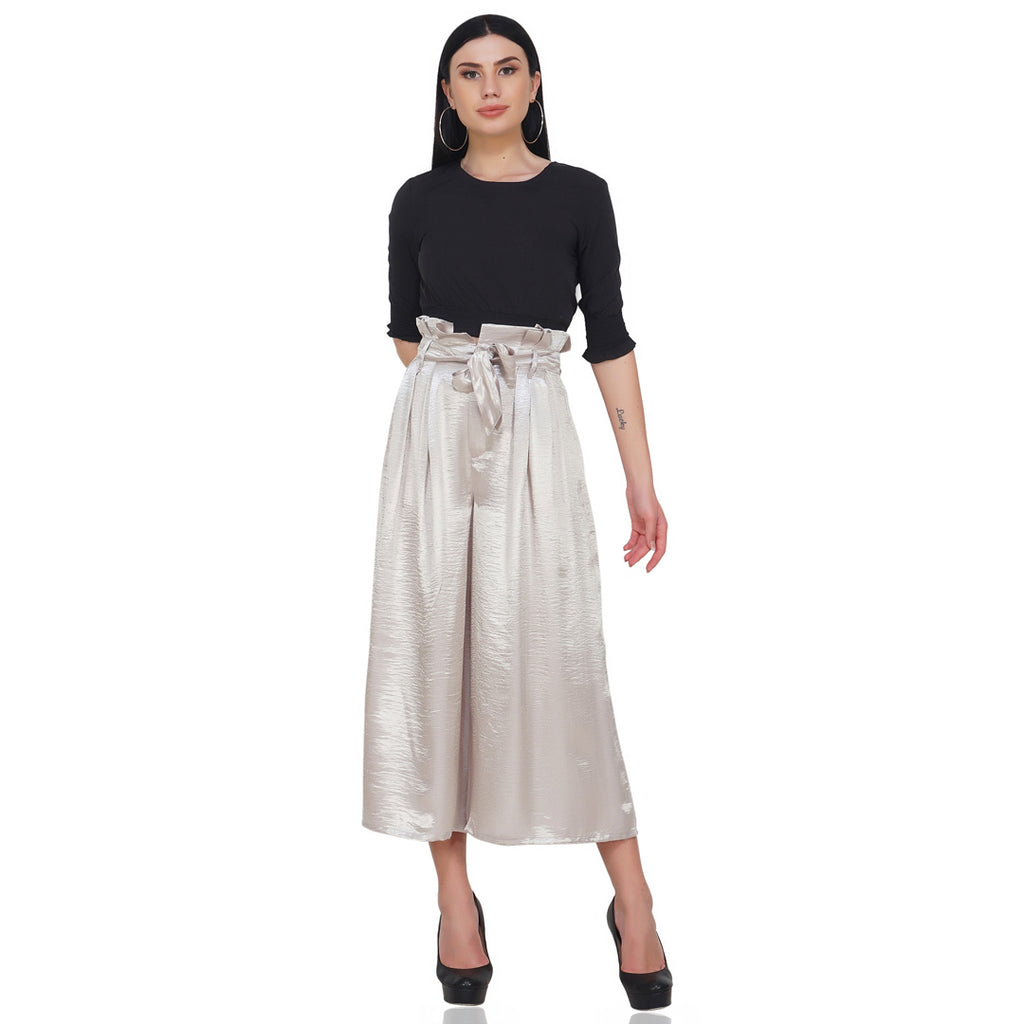 Silver Paperbag Waist Trousers