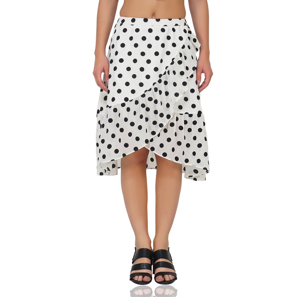 Cover Up Frilly White Polka Skirt