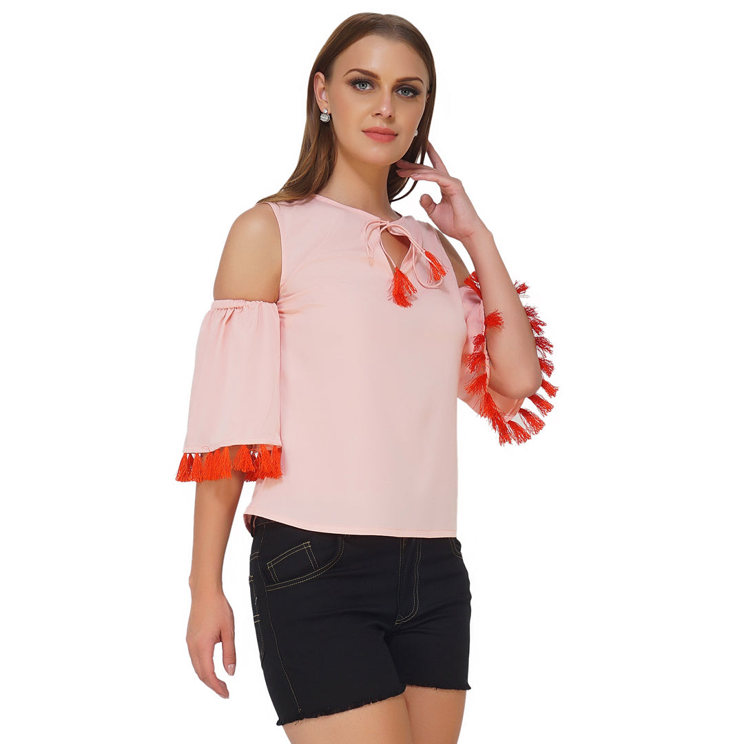 Cold Shoulder Tassel Peach Top