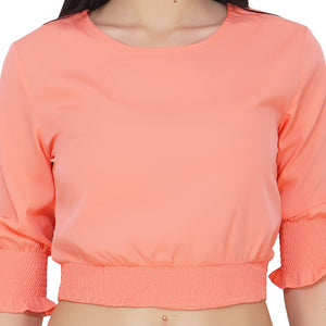 Coral Puffy Crop Top