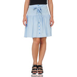 Blue Bow Tie Midi Skirt