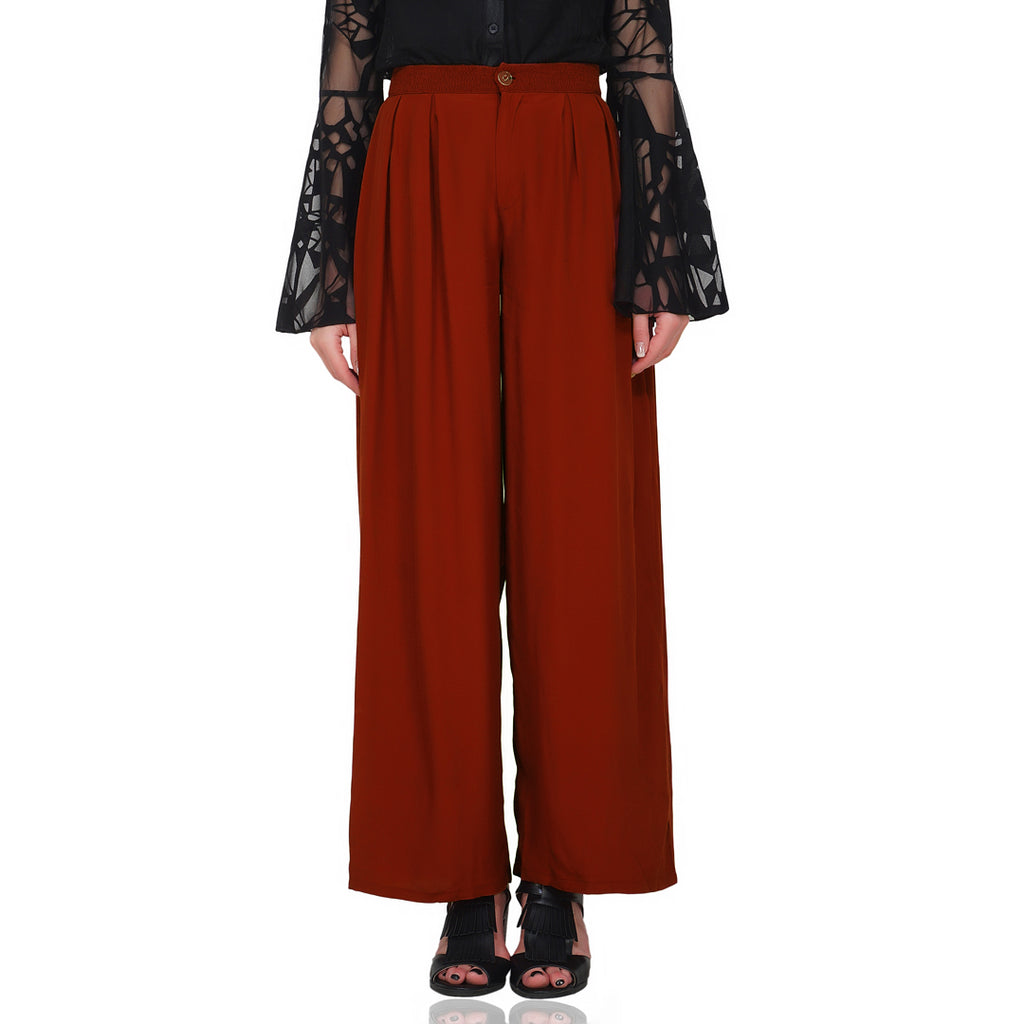 Rust Box Pleated Formal Trousers