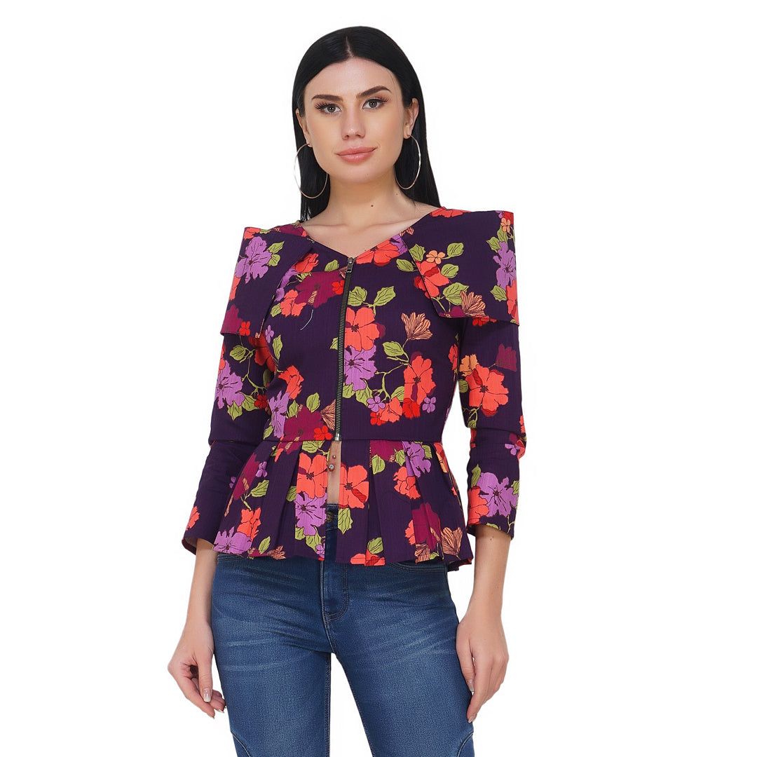 Cover Up Collar Floral Jacket