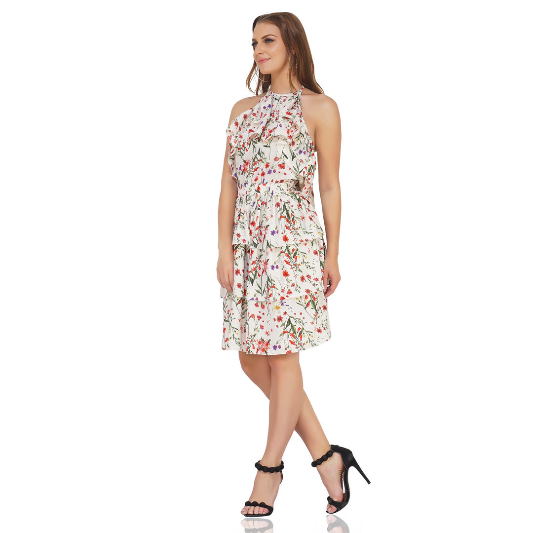 Layered Tie Up Floral Dress