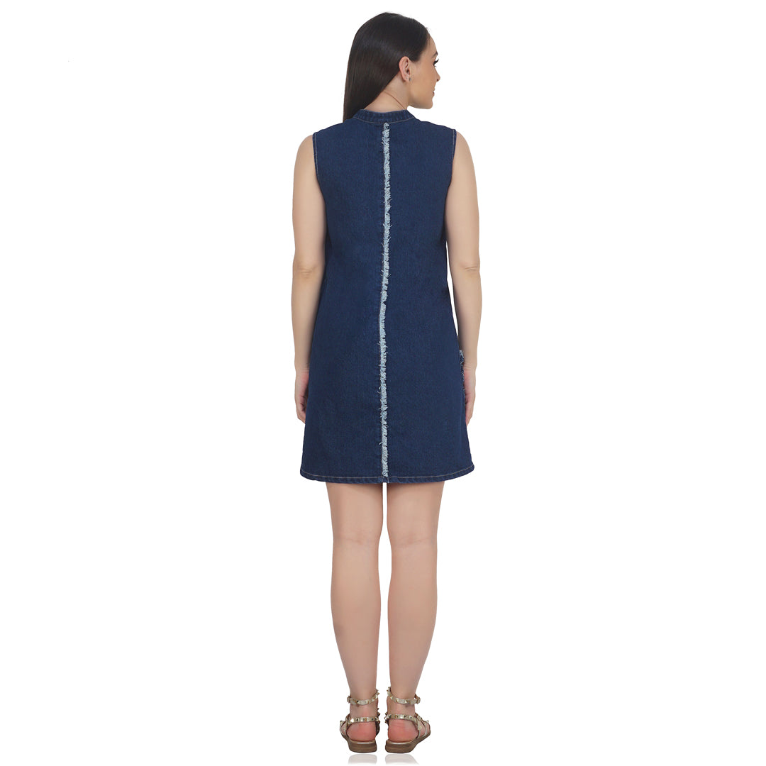 Big Pocket Denim Dress (Dark Blue)