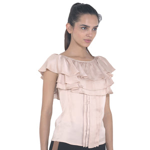 Frilly Front Pleated Top