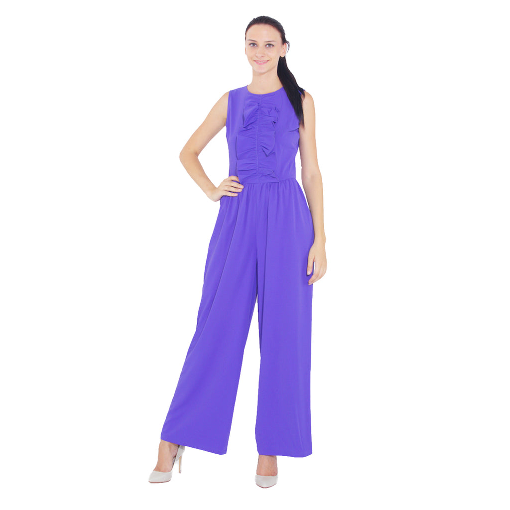 Ruffled Collar Wide Legged Jumpsuit