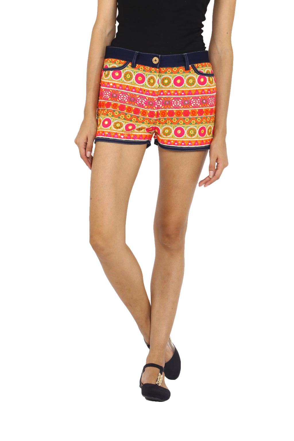 Ethnic Denim Shorts