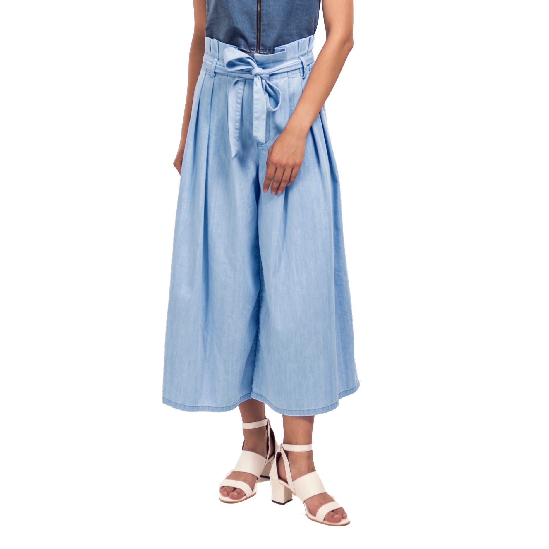 Denim Paper Bag Waist Trousers