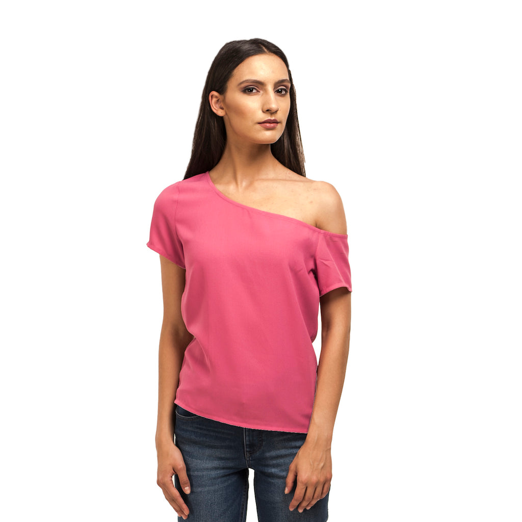 Drop Shoulder Pink Top
