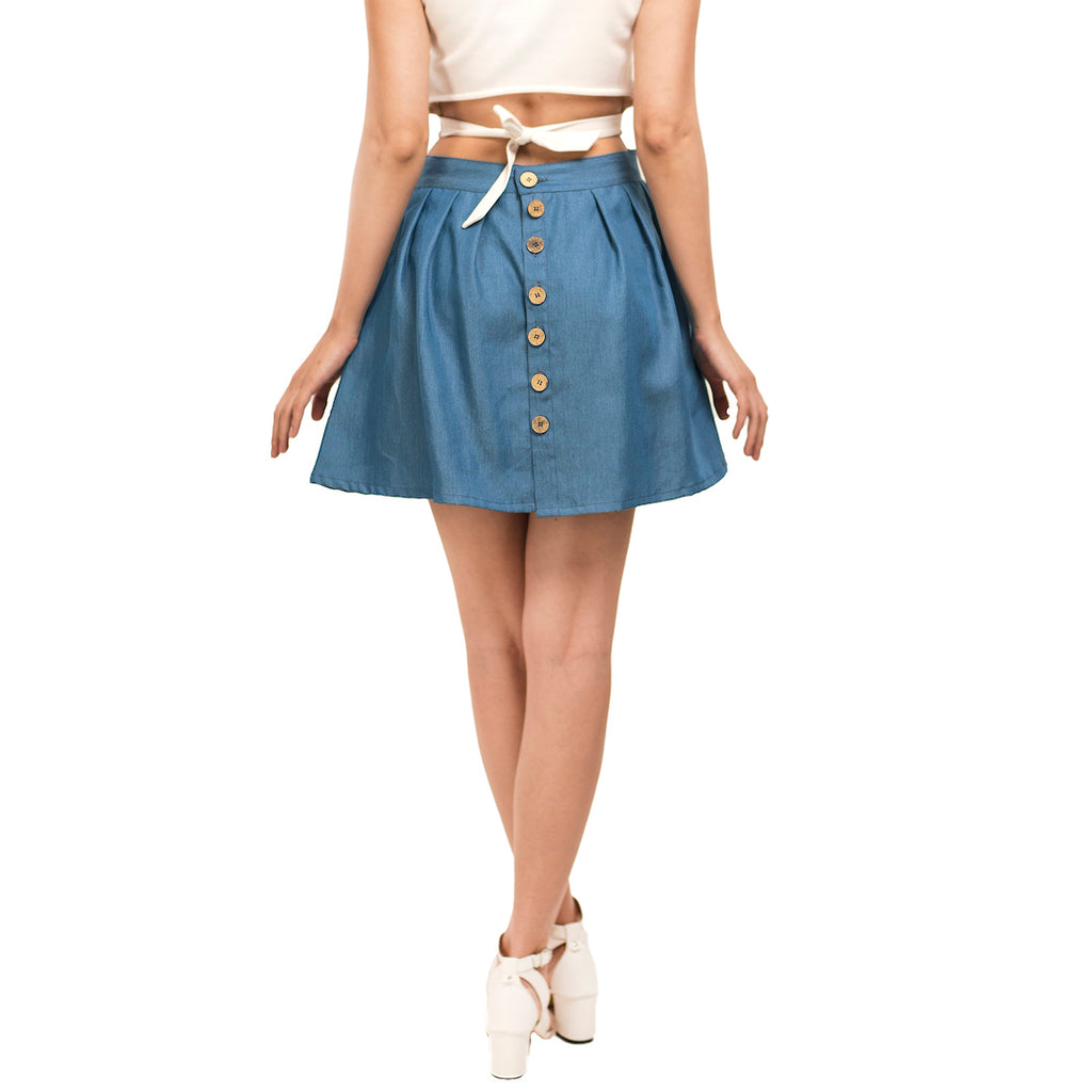 Denim Back Buttoned Skirt