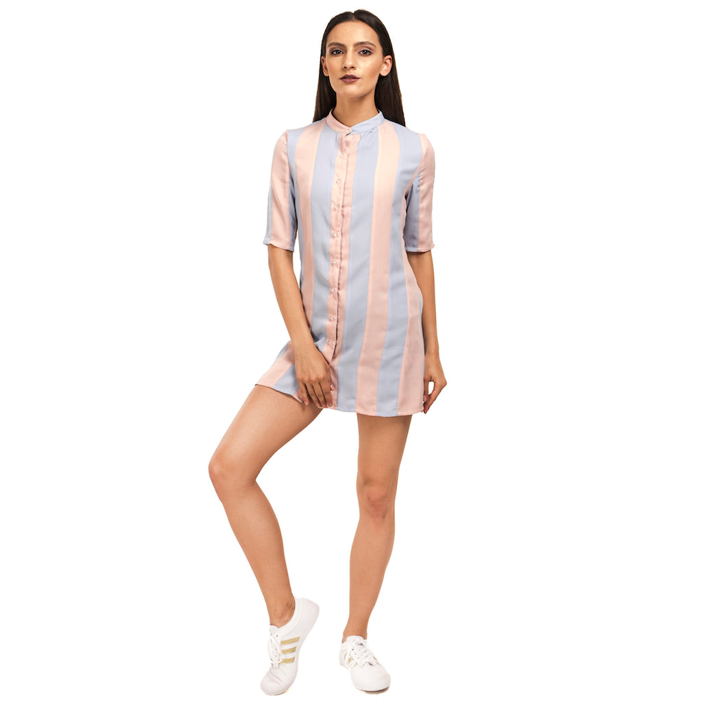 Striped Cut & Sew Shirt Dress