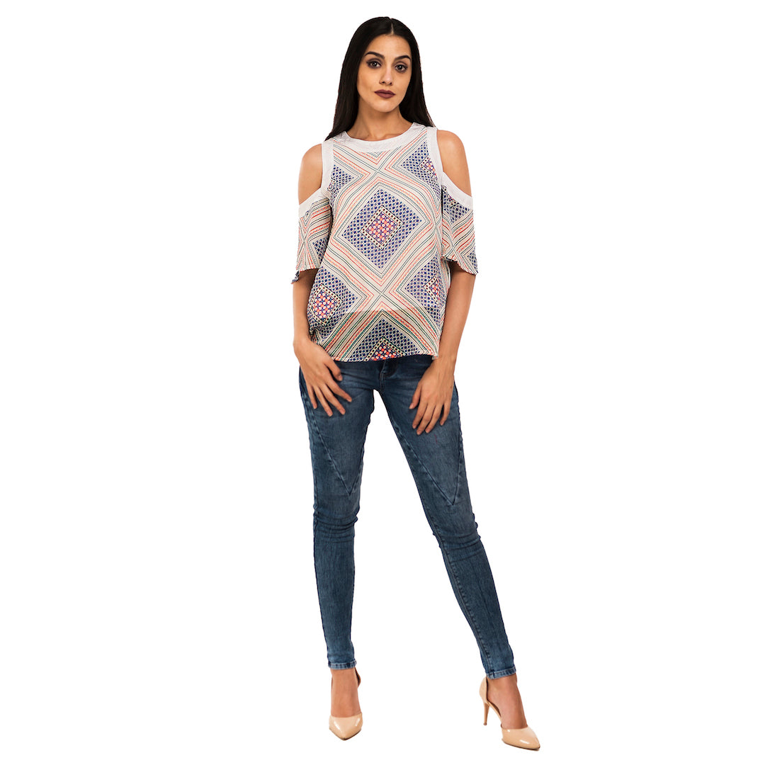 Cold Shoulder Geometric Tunic