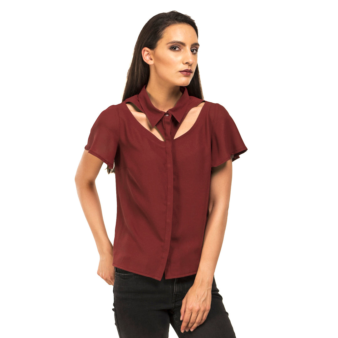 Cut Out Collar Shirt