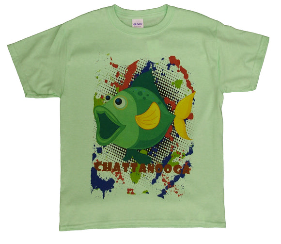Green Cartoon Fish - Chattanooga - nooga-T booga-T