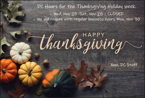 Thanksgiving Announcement