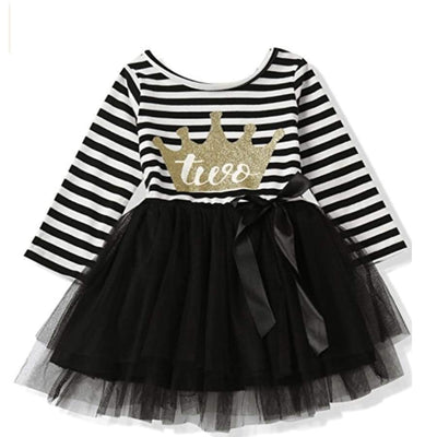 "Sweet As Sugar Couture ""2nd Birthday"" Black & White L/S Tutu Dress"
