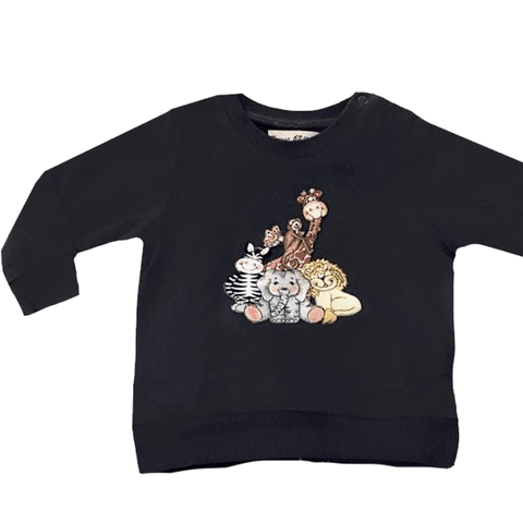 Sweet As Sugar Couture Zoo Friends Crew- Charcoal