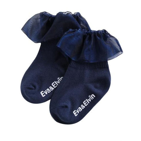 Eva and Elvin Yena Ruffled Sock - XS (0-18M) / Navy - Footwear