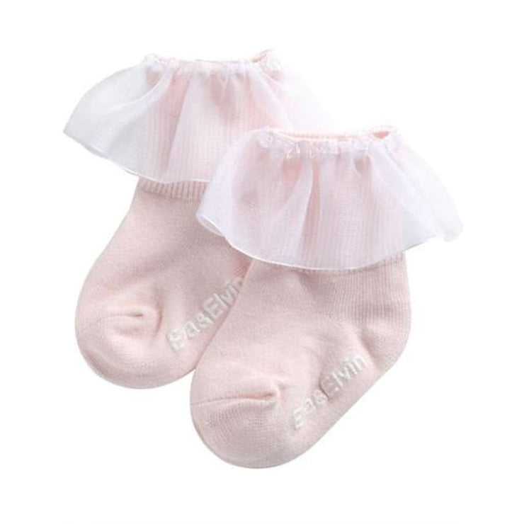 Eva and Elvin Yena Ruffled Sock - XS (0-18M) / Pink - Footwear