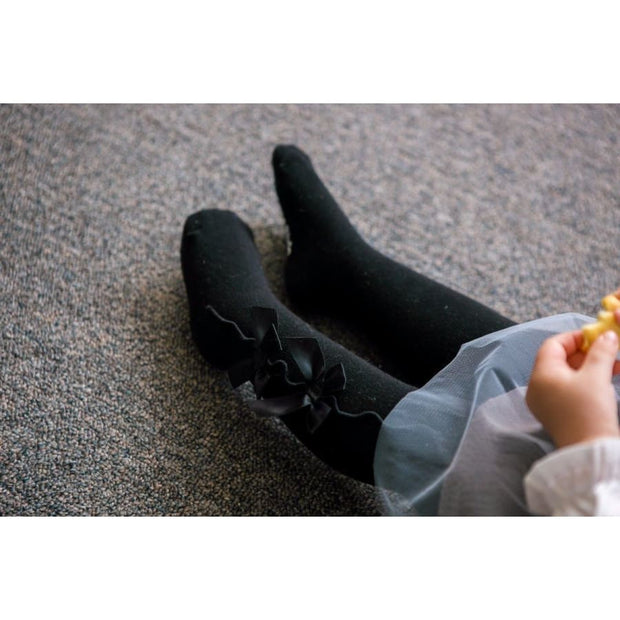 Eva & Elvin Girls Shirring Ribbon Tights In Black - Footwear