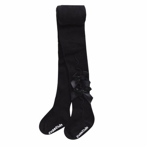 Eva & Elvin Girls Shirring Ribbon Tights in Black - XS (0-24M) - Footwear