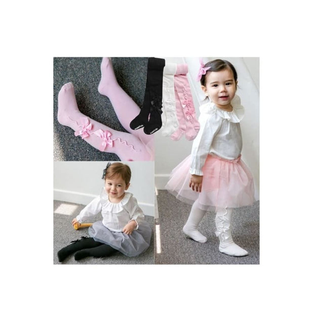 Eva & Elvin Girls Shirring Ribbon Tights in Pink - Footwear