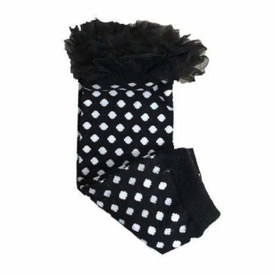 K&K Baby Black Polka Dot with Ruffle Leg Warmers - Footwear