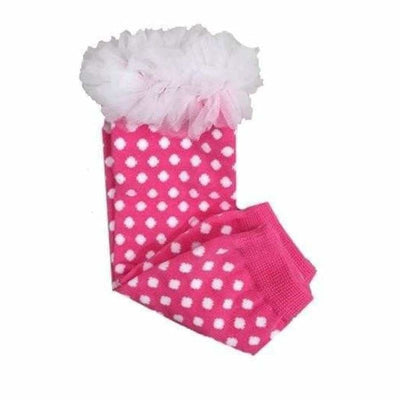 K&K Baby Pink Polka Dot with Ruffle Leg Warmers - Footwear