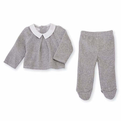 Mud Pie Gray Velour Two Piece Set - Rompers & Sets