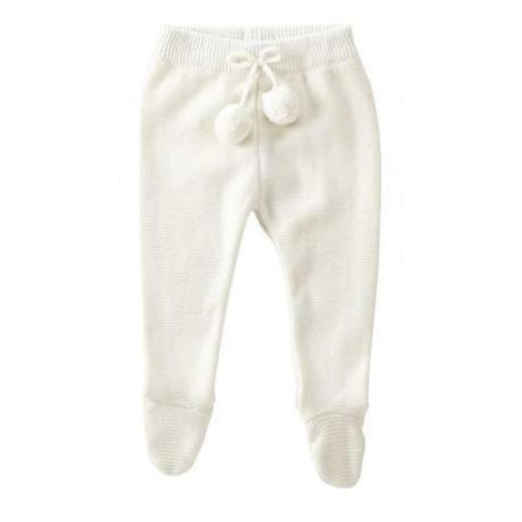 Mud Pie Knit Footed Legging - Ivory - 3-6M - Bottom
