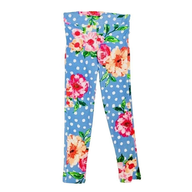 Sweet As Sugar Couture Comfort Legging - Scattered Flowers in Blue - 3T - Bottom
