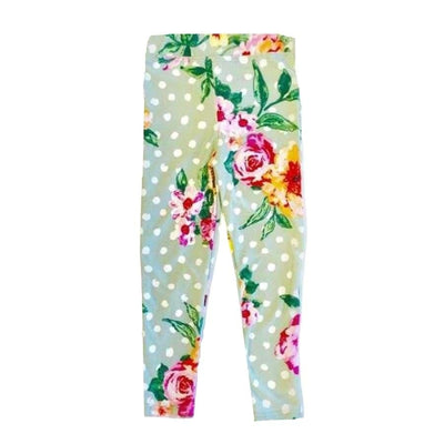 Sweet As Sugar Couture Comfort Legging - Scattered Flowers in Sage - 2T - Bottom