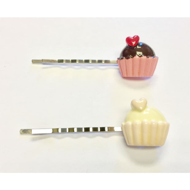 Sweet As Sugar Couture Cupcake Cutie Hair Pin - Chocolate & Raspberry - Accessory
