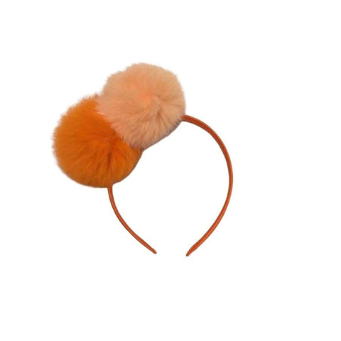 Sweet as Sugar Couture Double Pom Headband - Orange Mix - Accessory