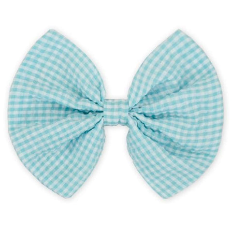 Sweet As Sugar Couture Gingham Hair Bow - Aqua - Accessory