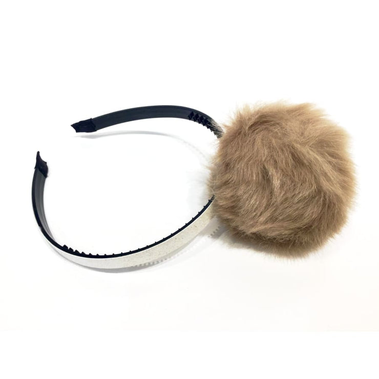 Sweet As Sugar Couture Girls Fur Pom Glitter Headband Ivory/Taupe - Ivory/Taupe - Accessory